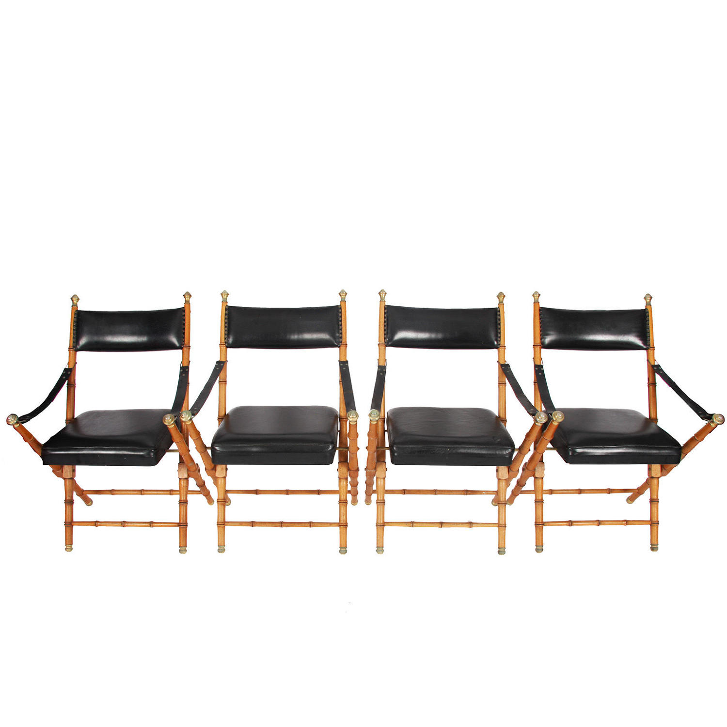 Set of Four Leather & Faux Bamboo Folding Chairs