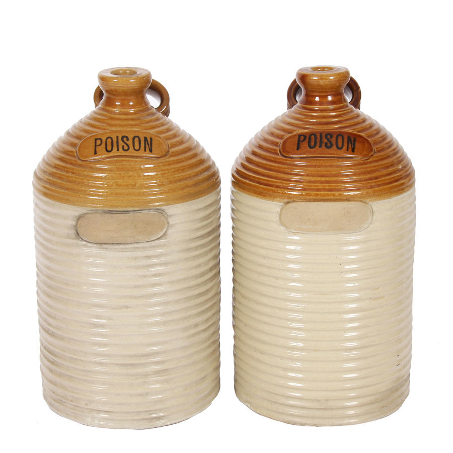 Pair of Stoneware Poison Jars