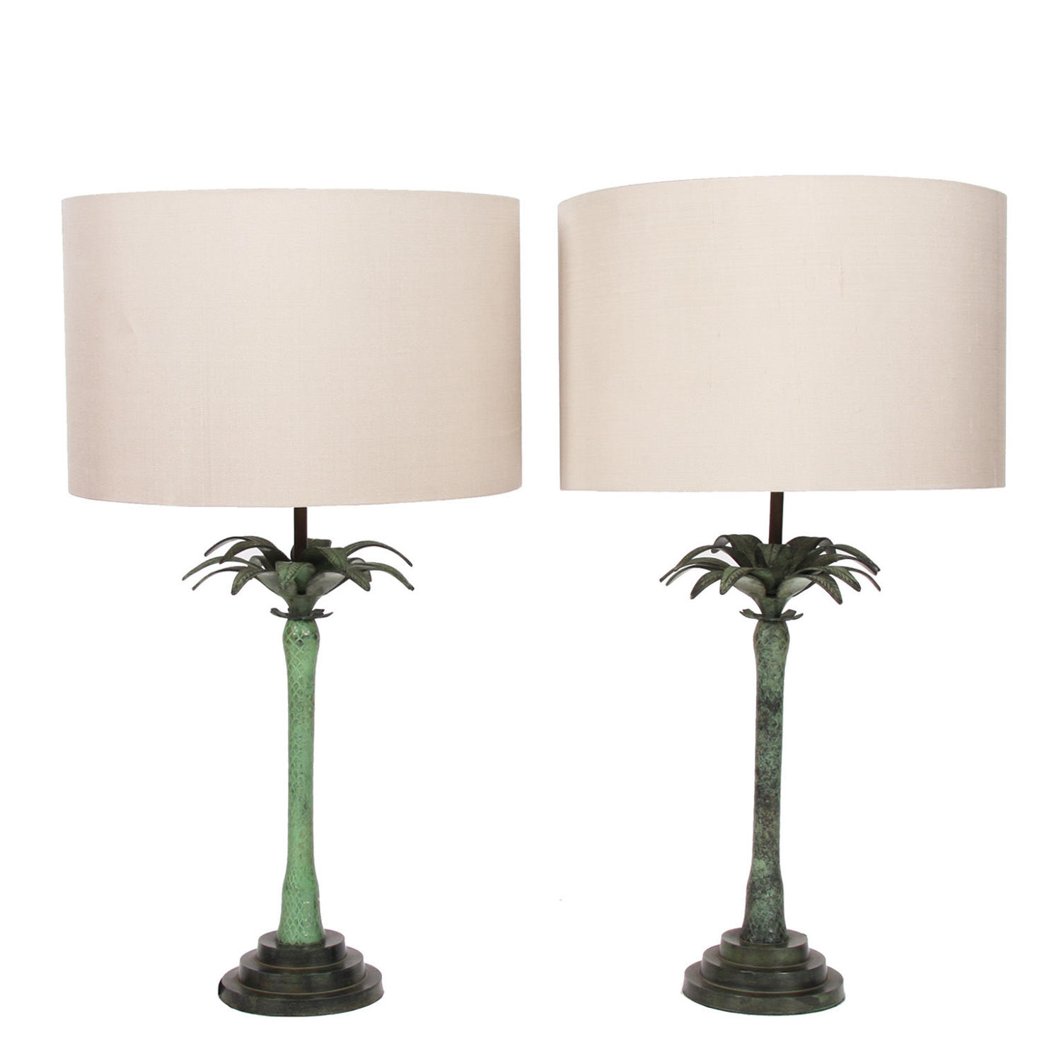 Pair of Bronze Palm Table Lamps