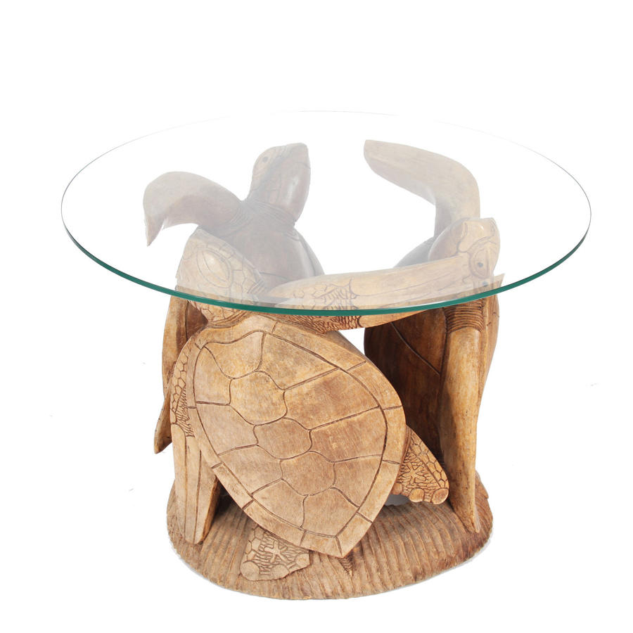 Carved Wooden Turtle Table with Glass Top