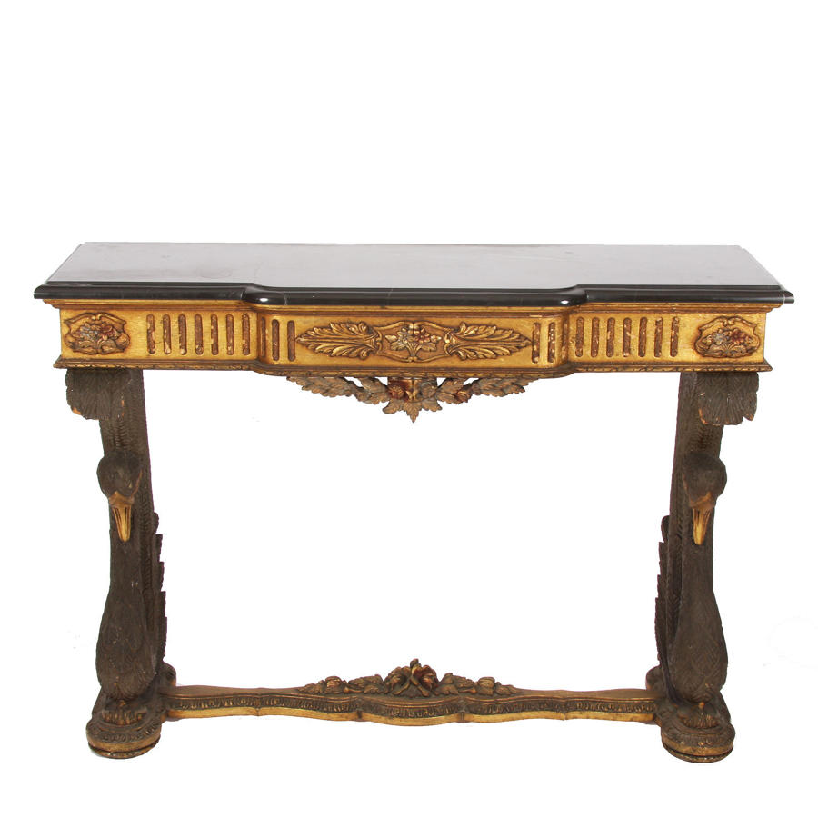 Giltwood & Marble Swan Console Table