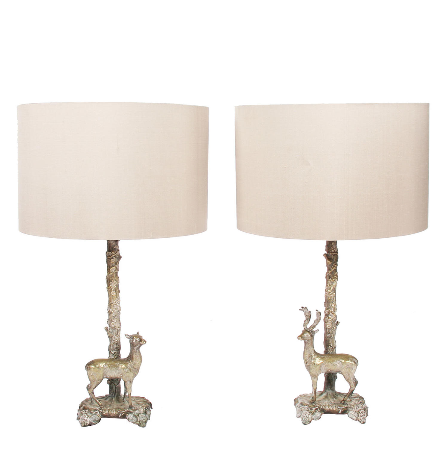 Pair of Silver Plated Deer Table Lamps by Valenti