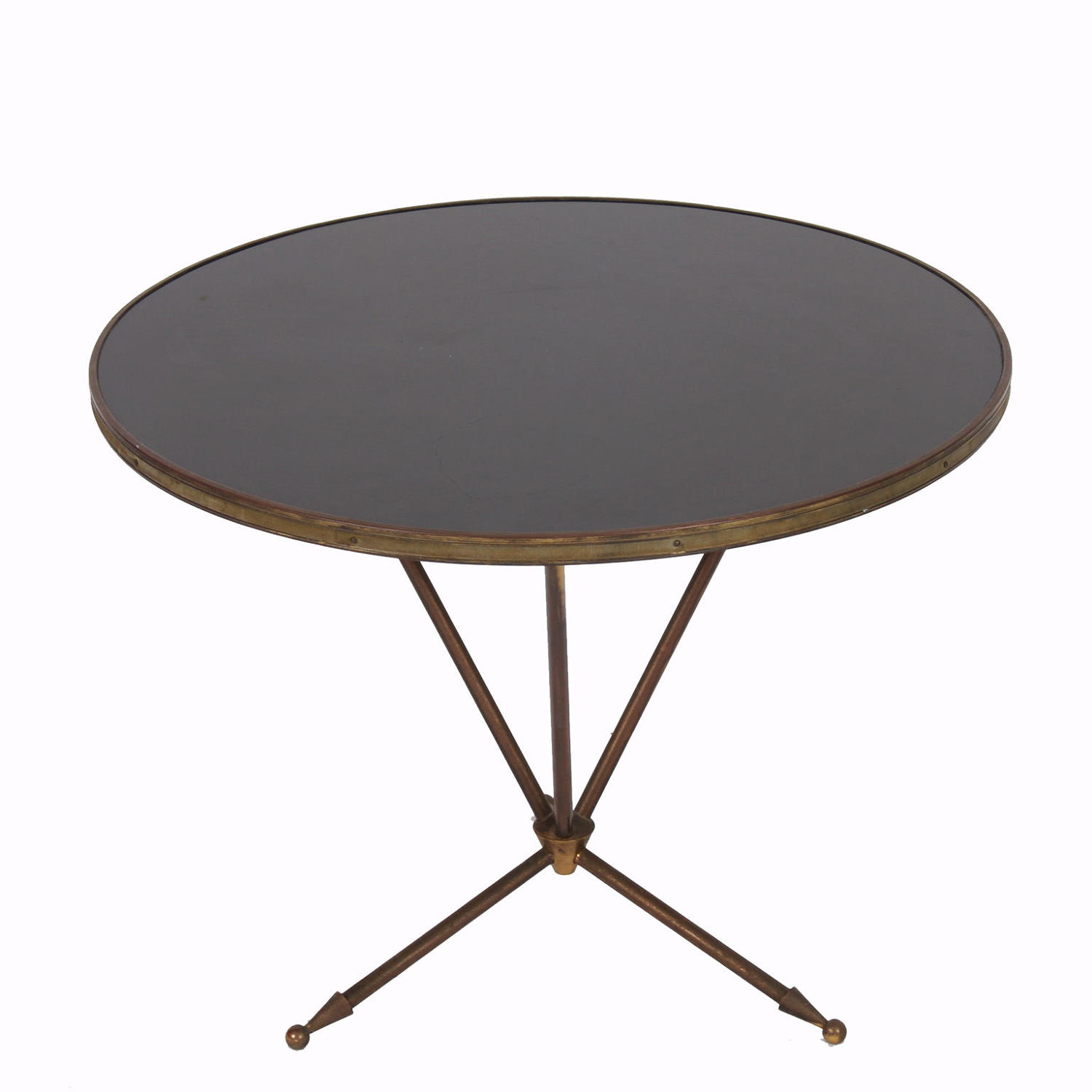 Small Round Brass & Black Glass Side Table