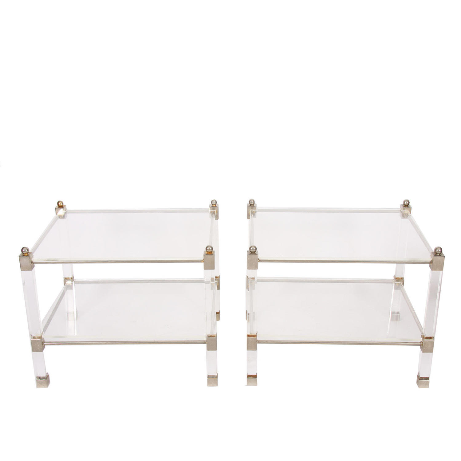 Pair of Two Tier Lucite & Nickel Side Tables