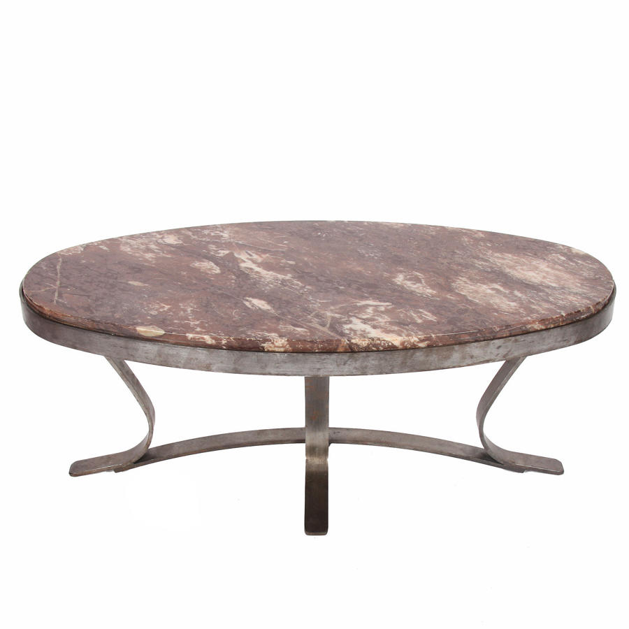 Oval Marble & Brushed Steel Coffee Table