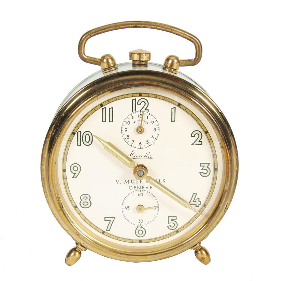 Pistachio Coloured Alarm Clock by V. Muff & Fils