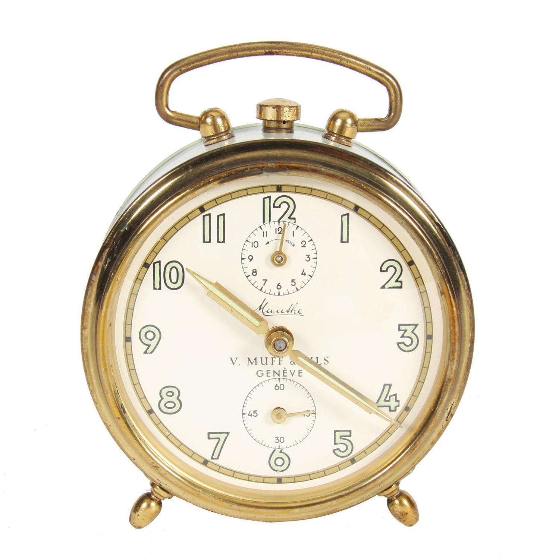 Pistachio Coloured Alarm Clock by V. Muff & Fils