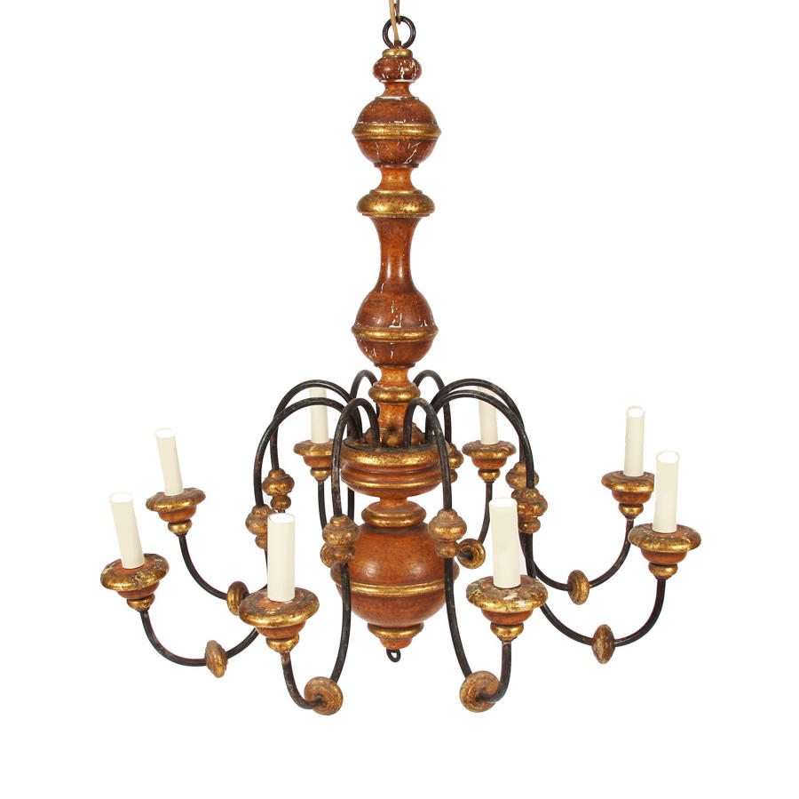 Metal, Giltwood & Painted Chandelier