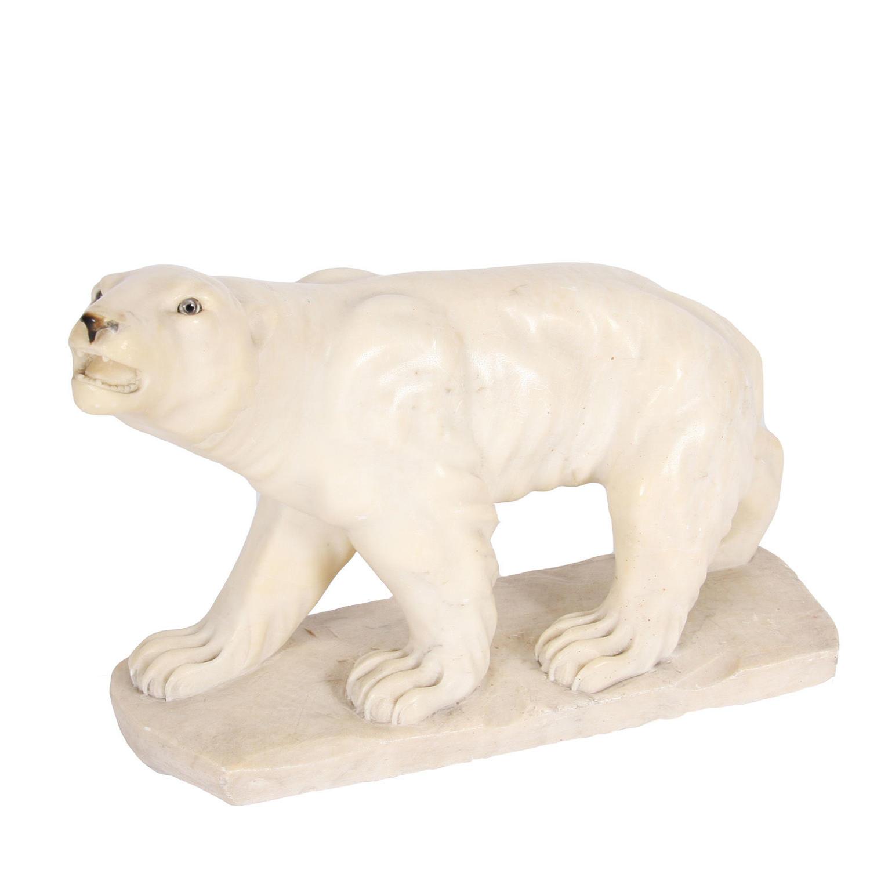 Alabaster Polar Bear Sculpture