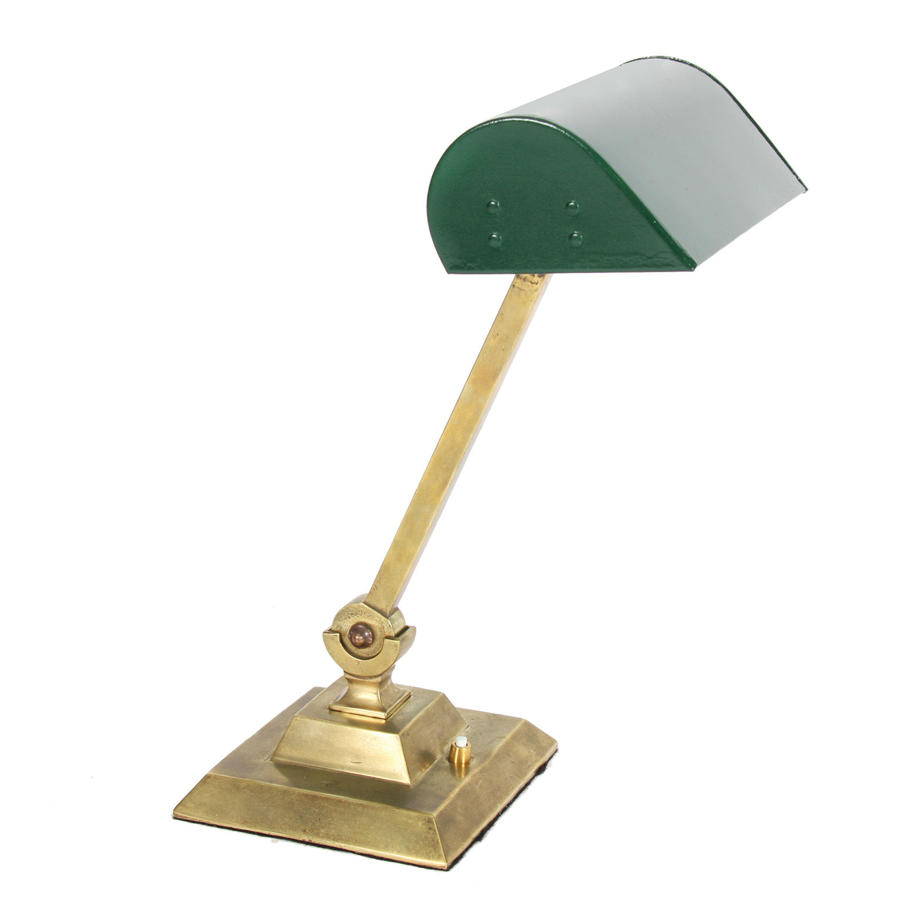 Brass & Enamelled Steel with Green Paint Banker's Desk Lamp