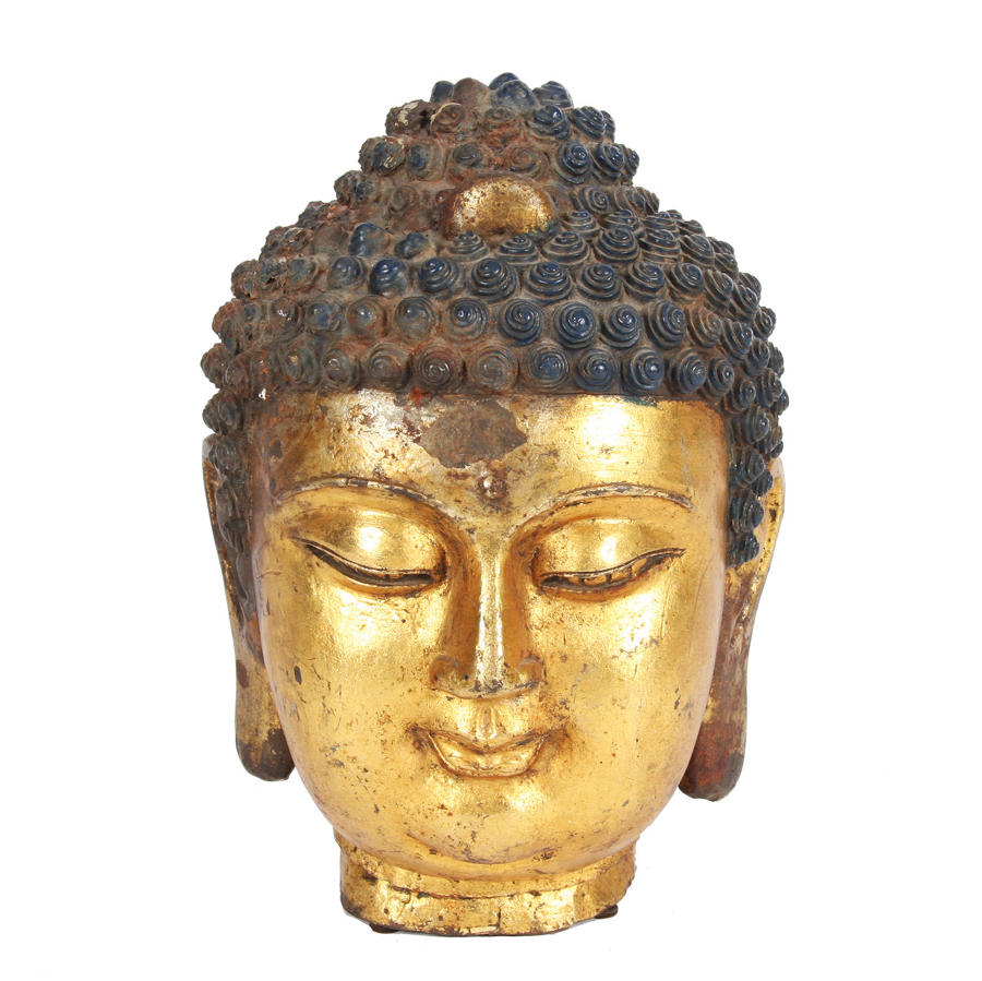 Chinese Gilt Metal Buddha Head