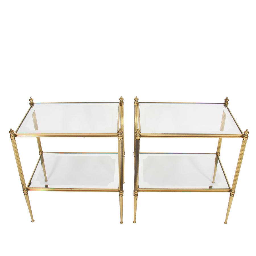 Pair of Two Tier Brass & Glass Side Tables with Mirrored Borders