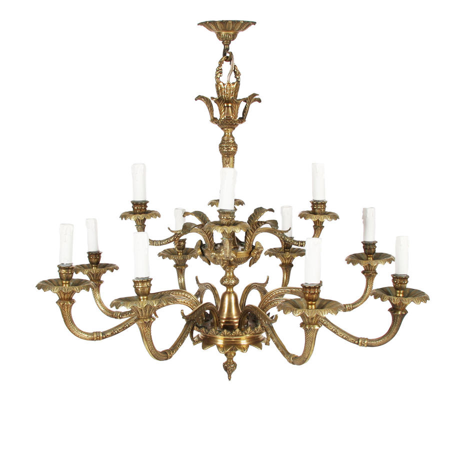 Brass Chandelier with Foliate Detail