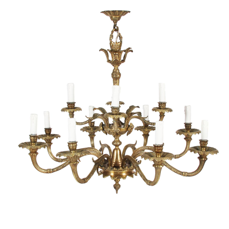 Brass Chandelier with Foliate Detail