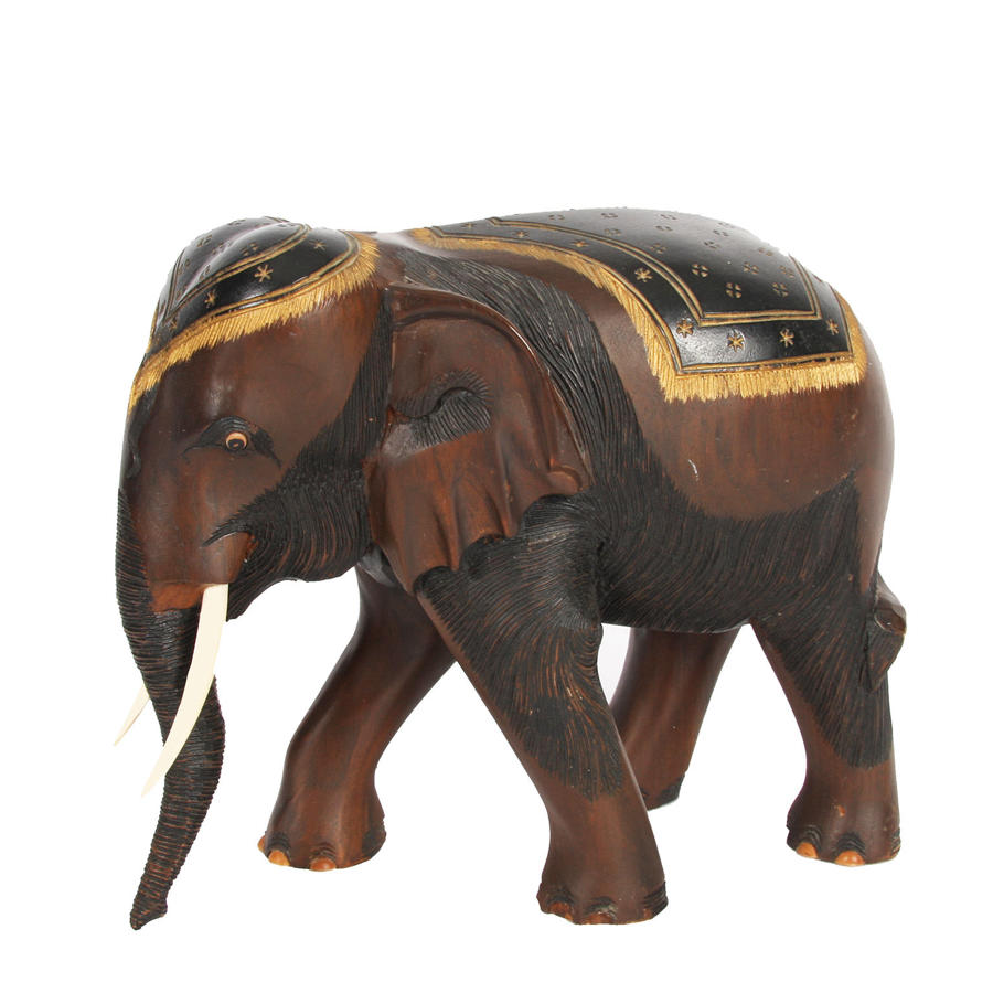 Carved Wooden Elephant with Painted Details