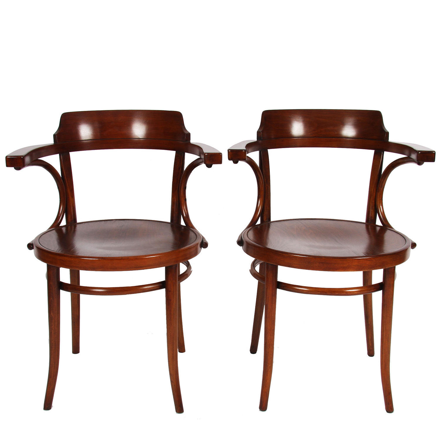 Pair of Stained Beech Chairs by Thonet