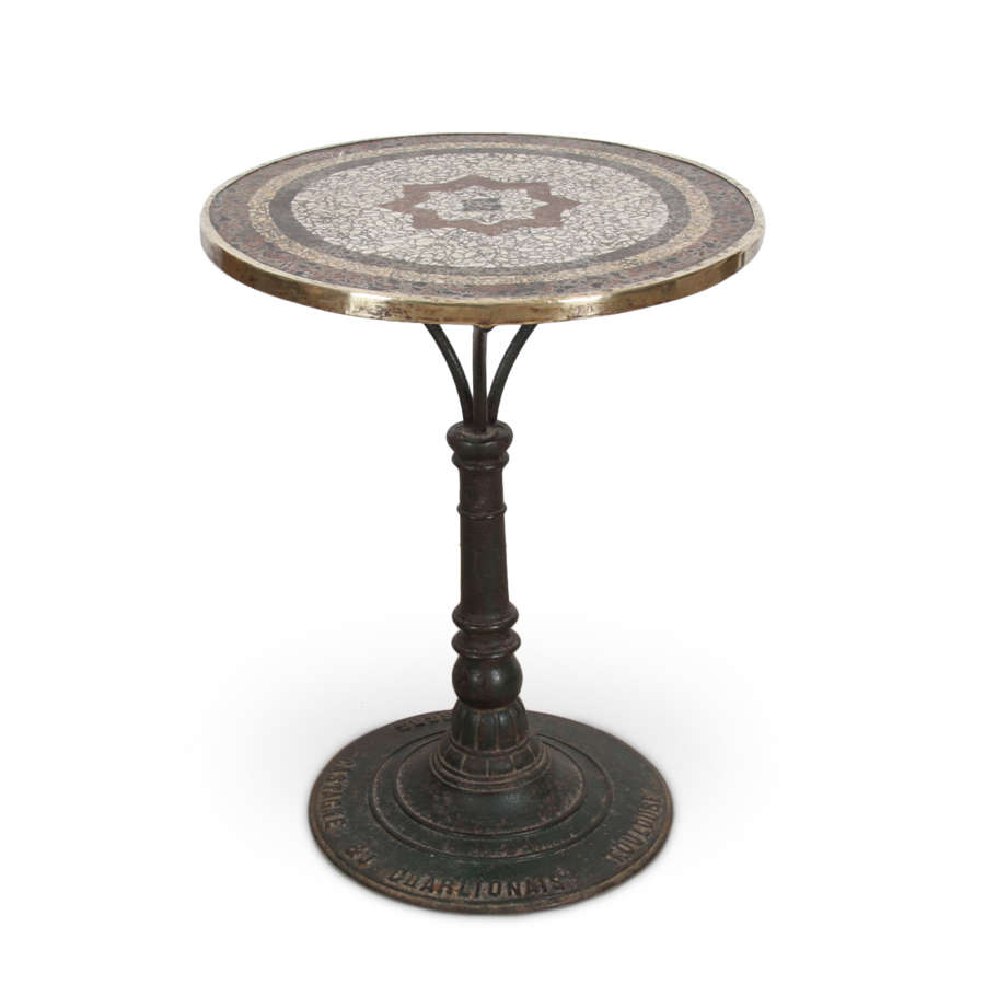 French Mosaic Top Bistro Table, 1920s
