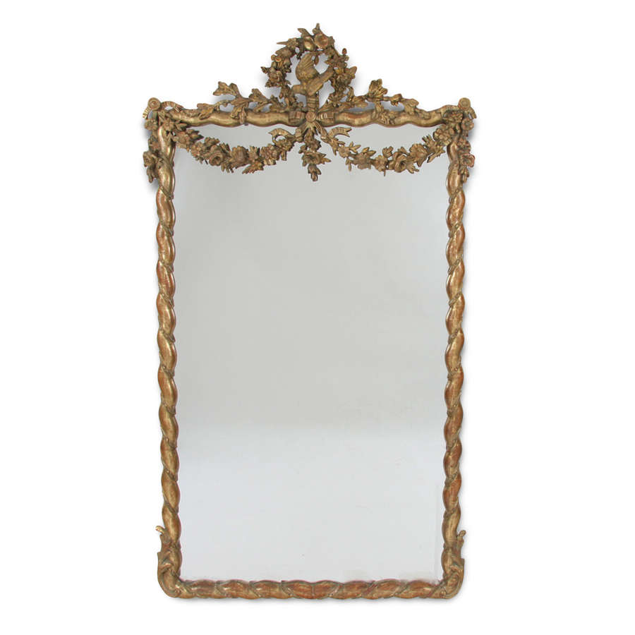Large Giltwood Mirror With Bird and Floral Garland Detail