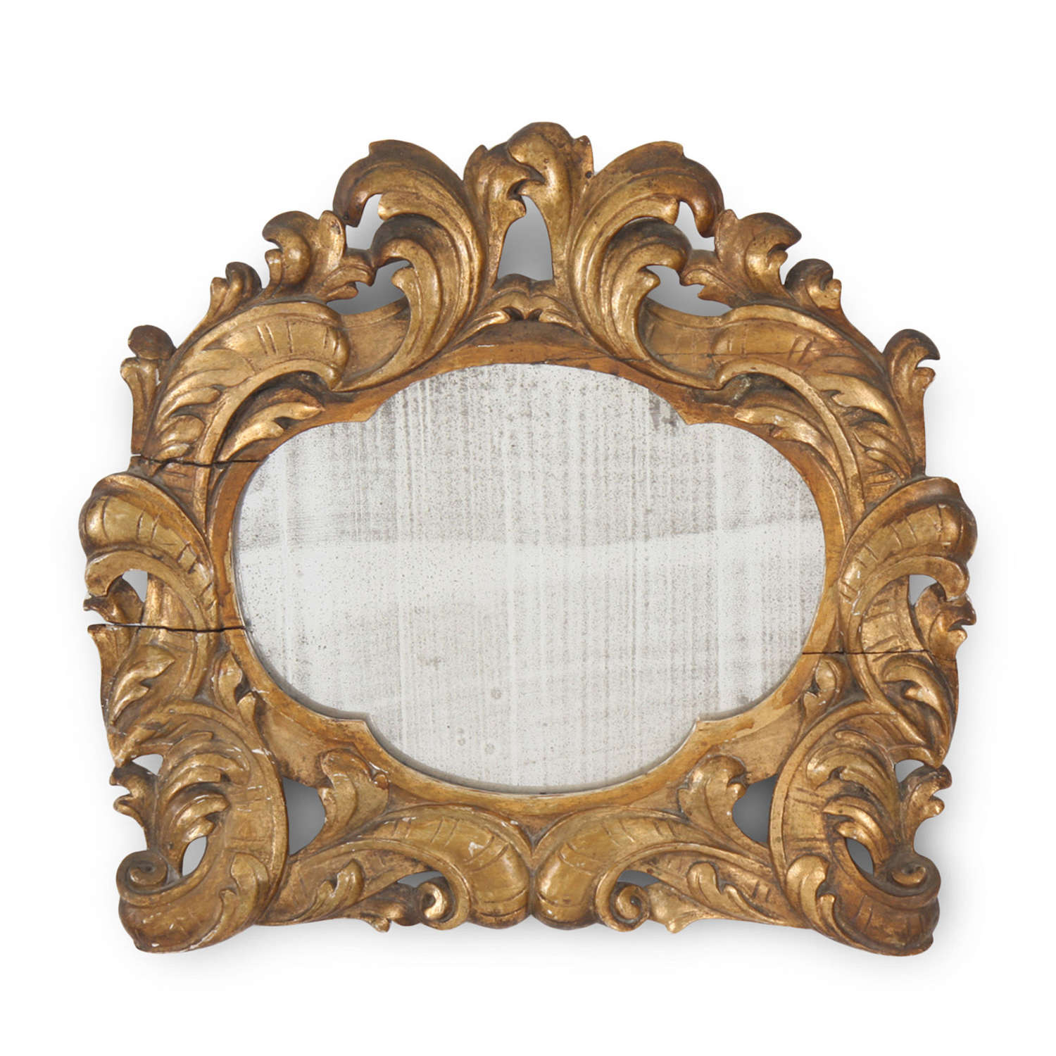 Italian Giltwood Mirror with Acanthus Leaf Detail
