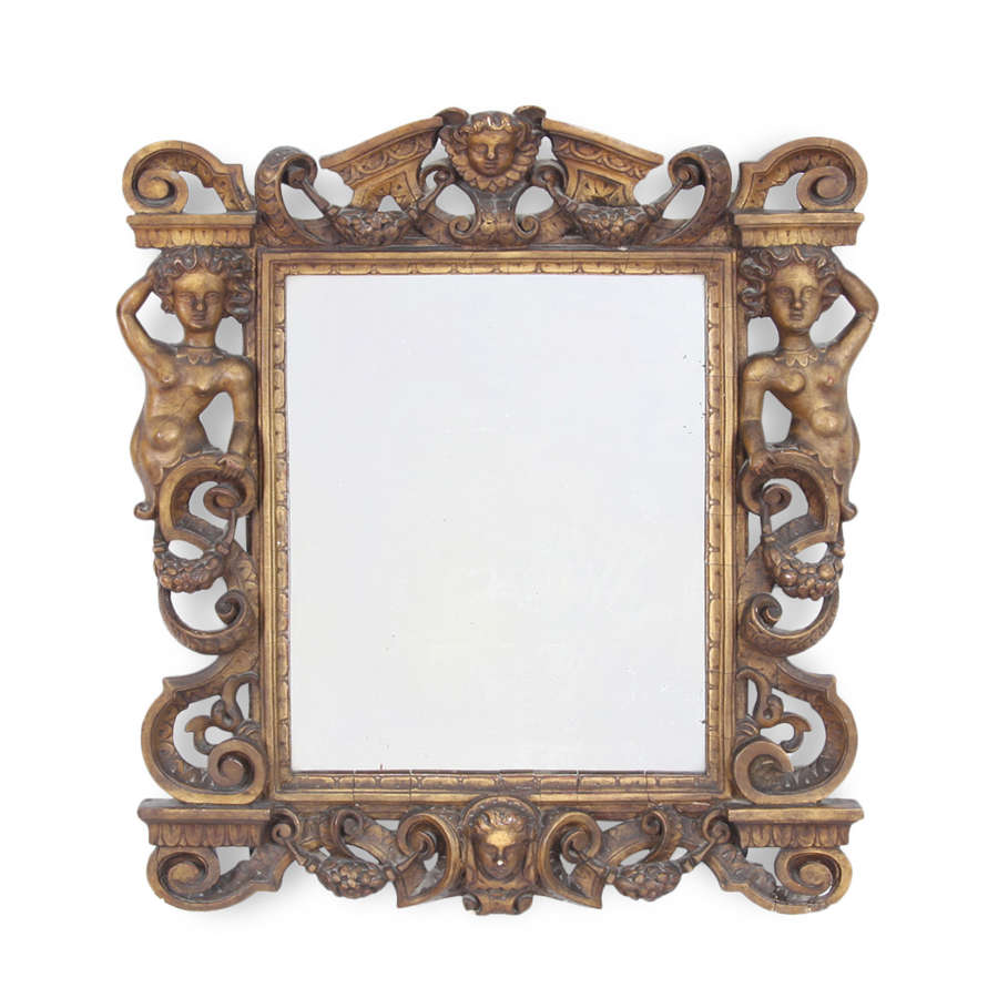 Nineteenth-Century Italian Giltwood Mirror With Figures