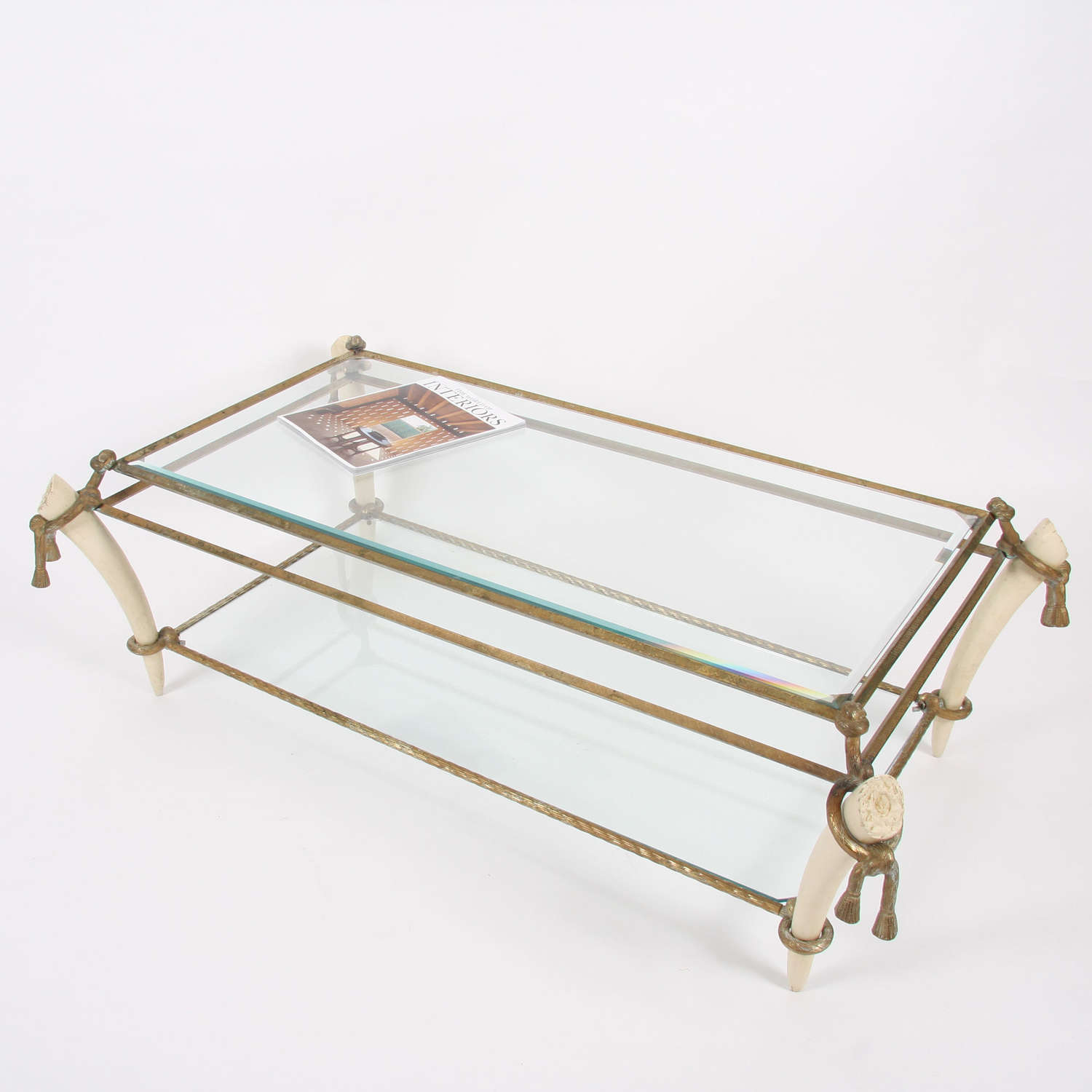 French Early Twentieth Century Brass and Faux Ivory Table