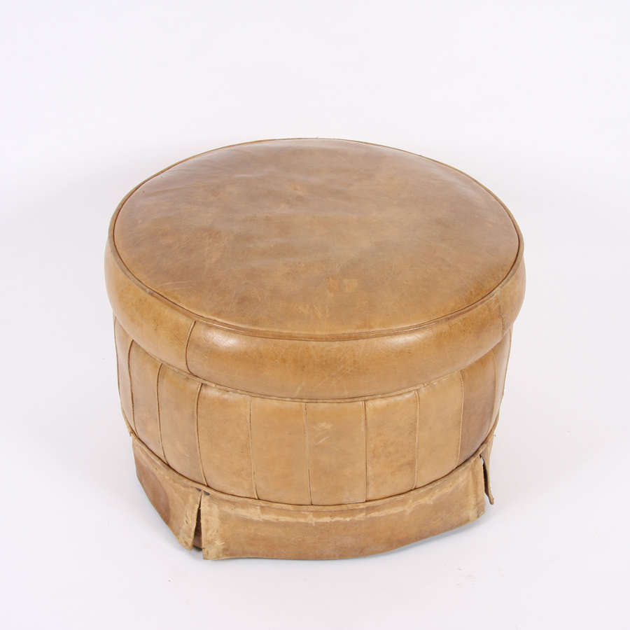 English Mid-Twentieth Century Leather Footstool