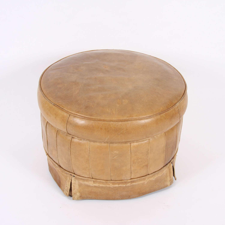 English Mid-Twentieth Century Leather Footstool