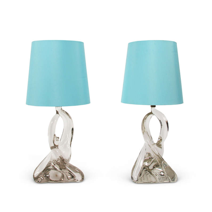 Pair of Jean Daum Style Twisted Crystal Table Lamps, French 1960s