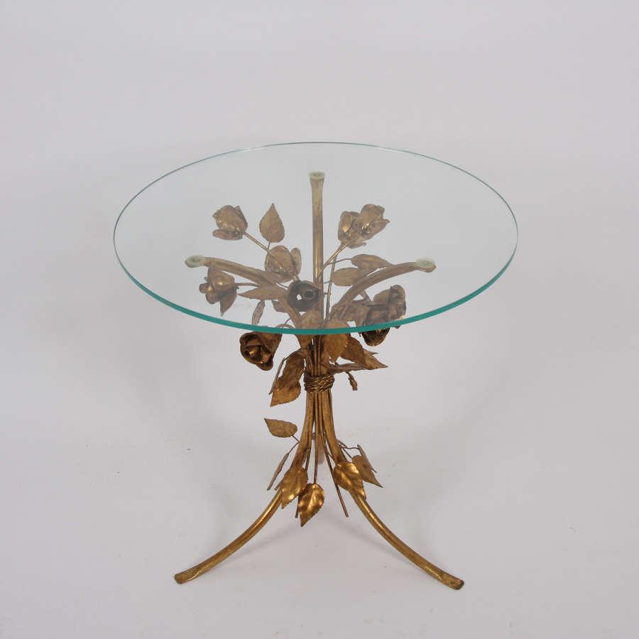 Gilt Metal Leaf and Flower Side Table by Hans Kögl
