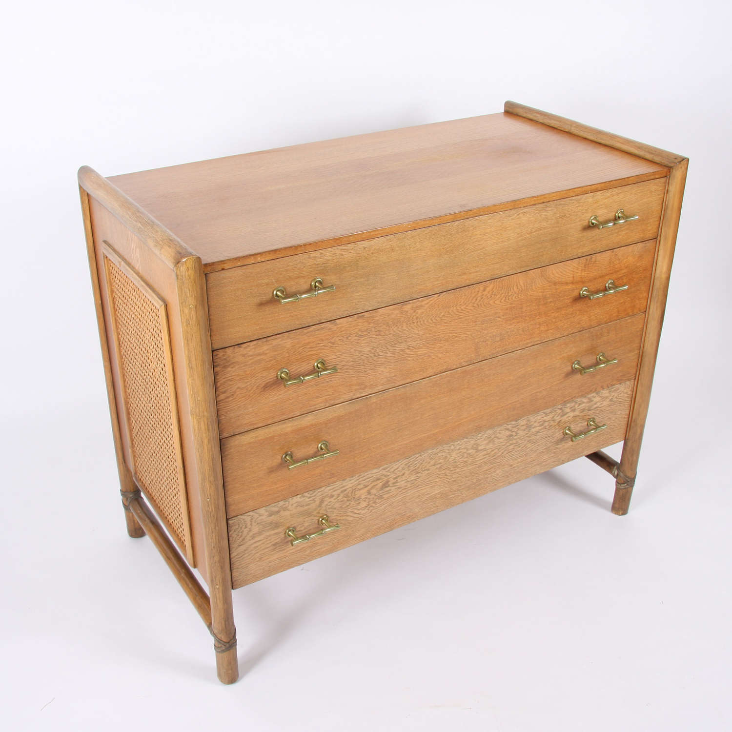 French Mid-Twentieth Century Oak and Faux Bamboo Commode