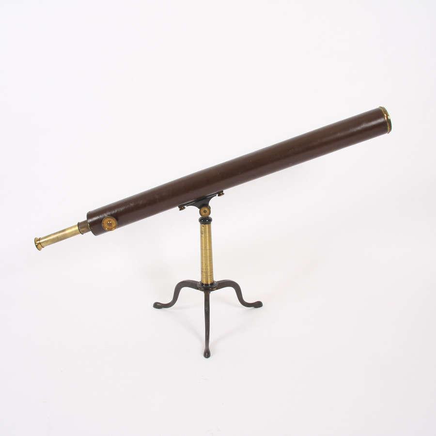 19th Century F. Primavesi & Sons Leather and Brass Telescope