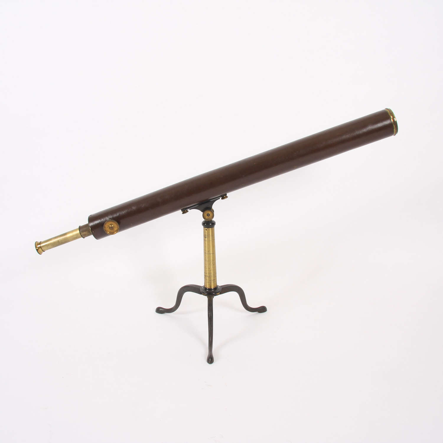 19th Century F. Primavesi & Sons Leather and Brass Telescope