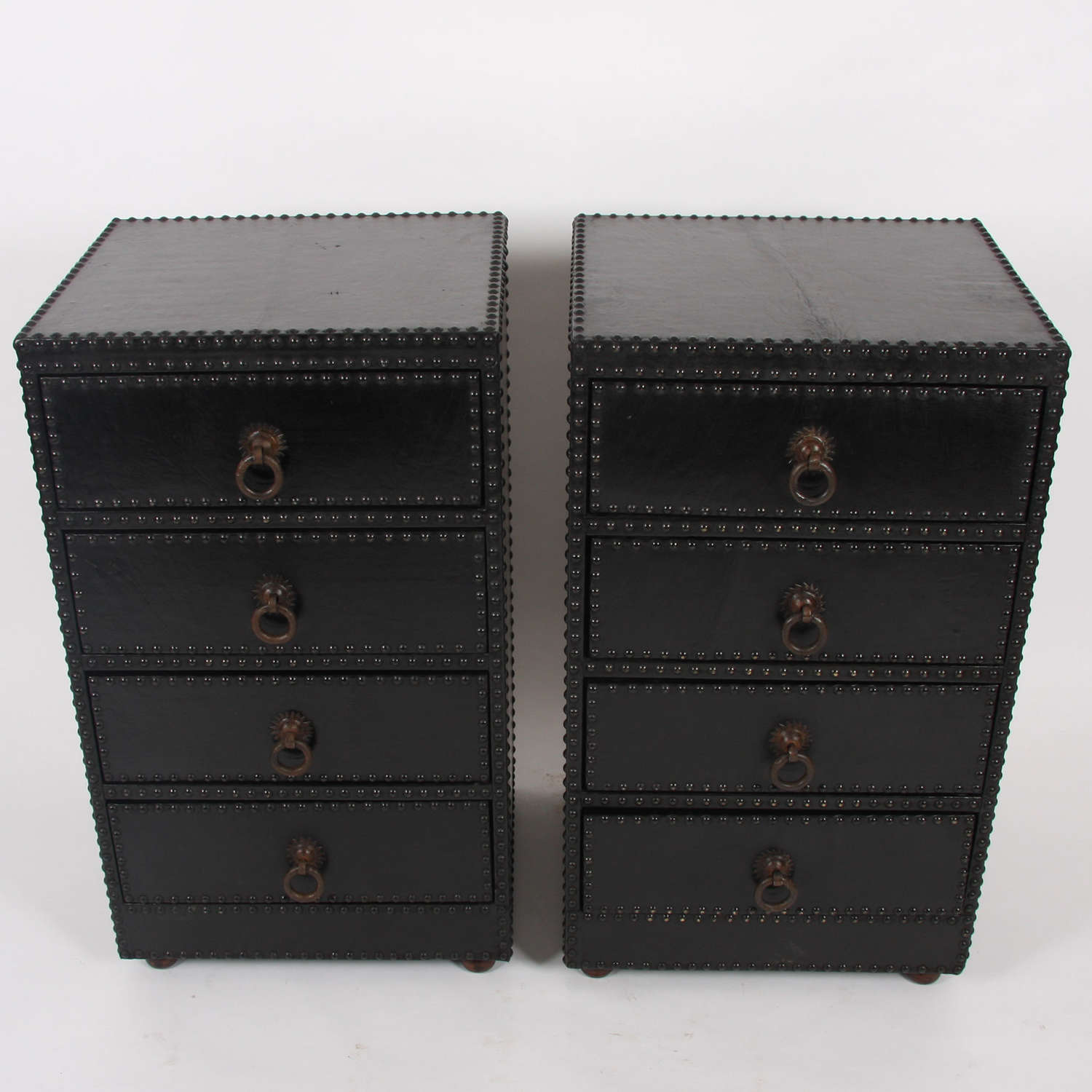 Pair of French Mid-Twentieth Century Black Leather Chest of Drawers