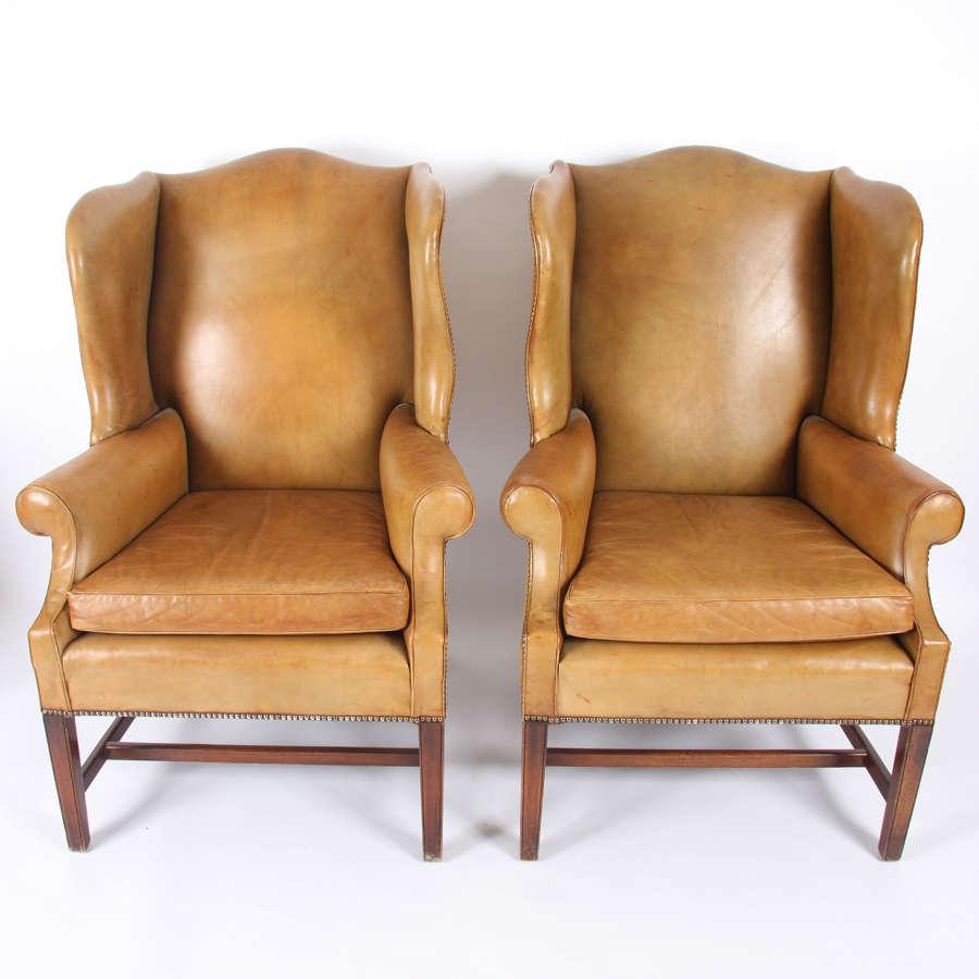Pair of English Mid-Twentieth Century Leather Armchairs