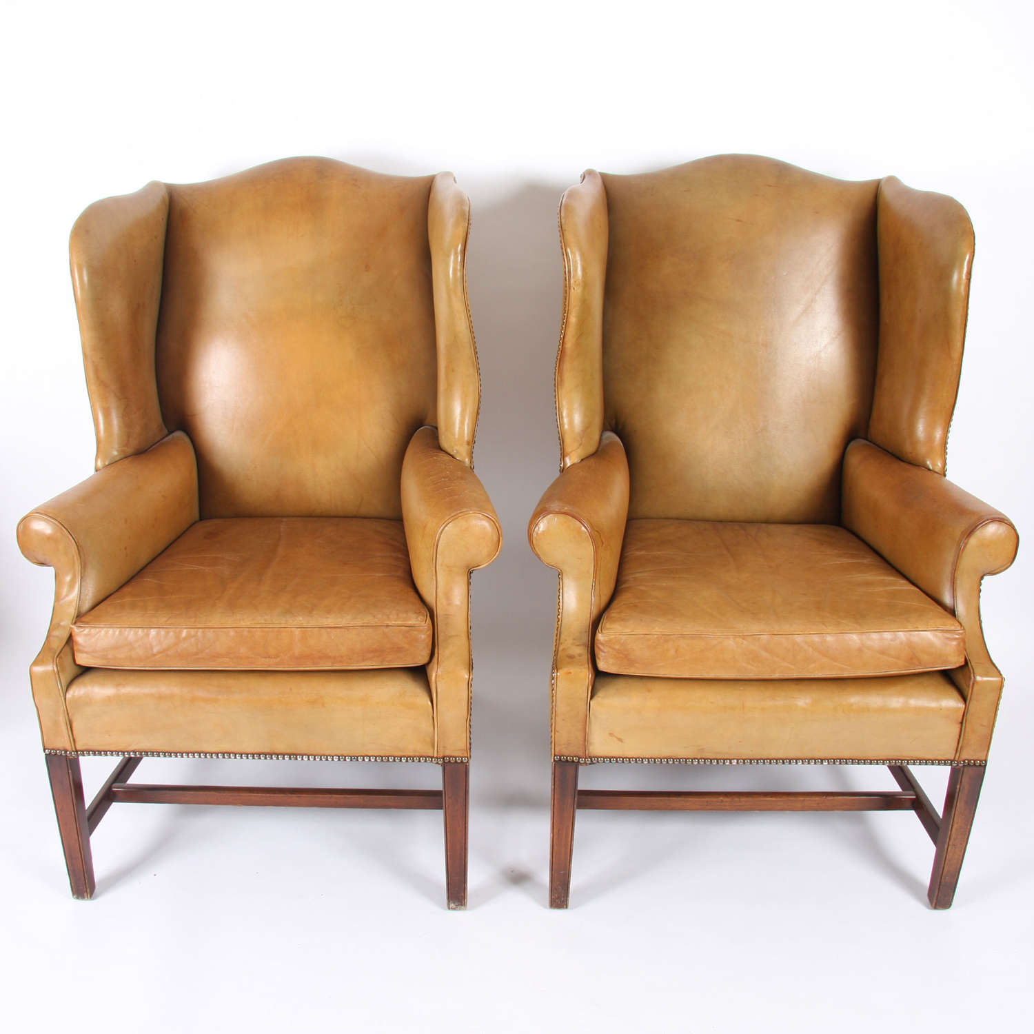 Pair of English Mid-Twentieth Century Leather Armchairs