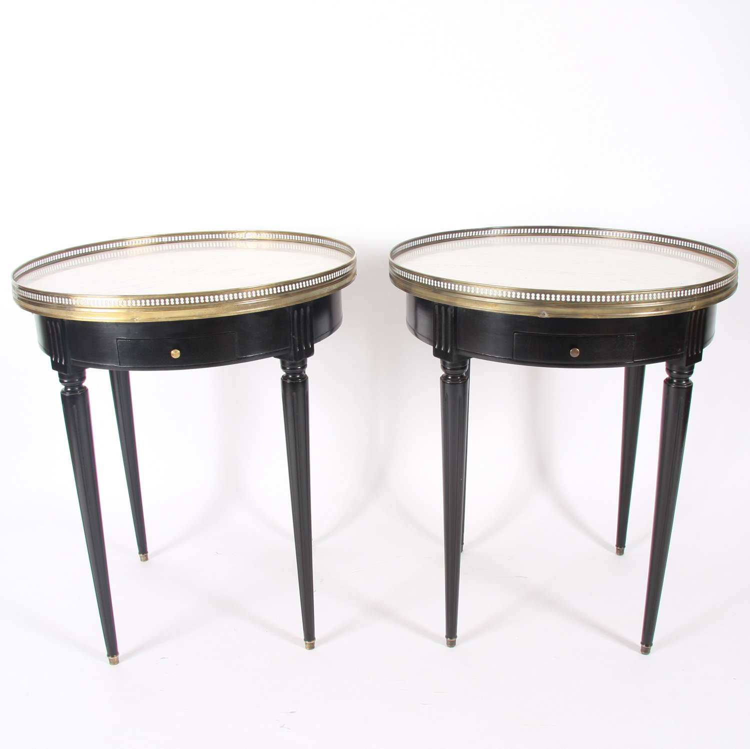 Pair of French Mid-20th Century Carrara Marble Top Bouillotte Tables