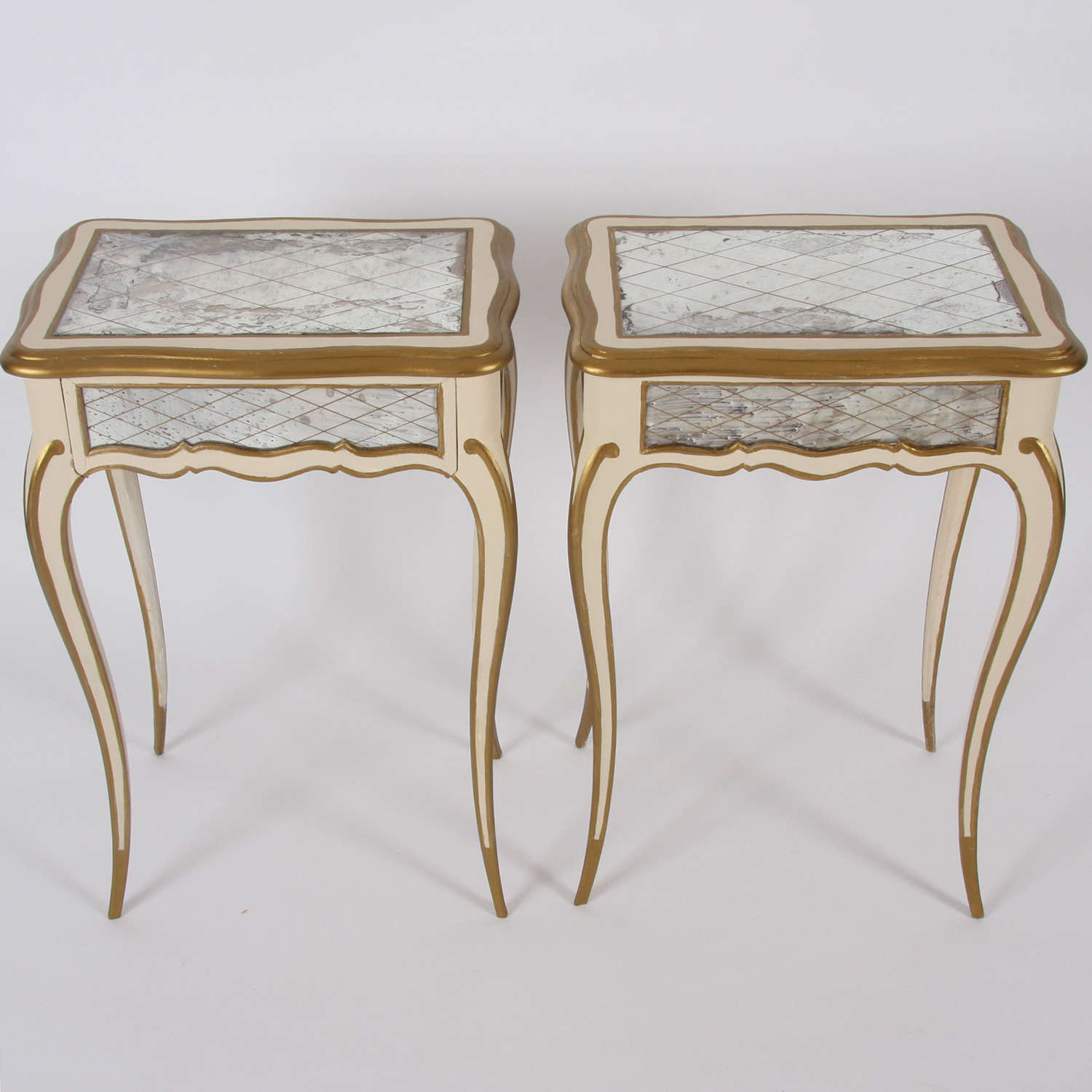Pair of Italian 1950s Painted and Gilt Side Tables