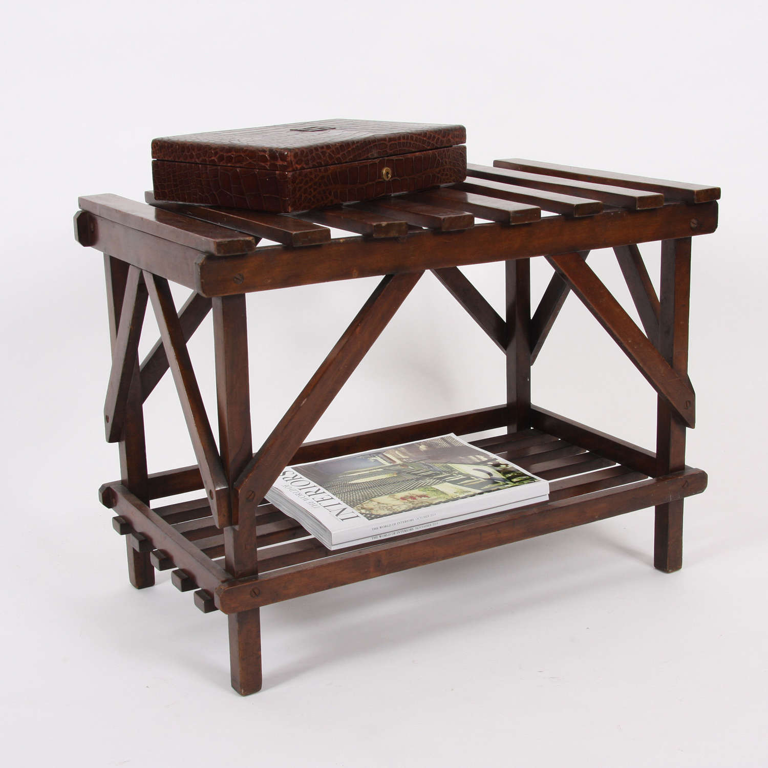 English 1920s Two-Tier Luggage Rack