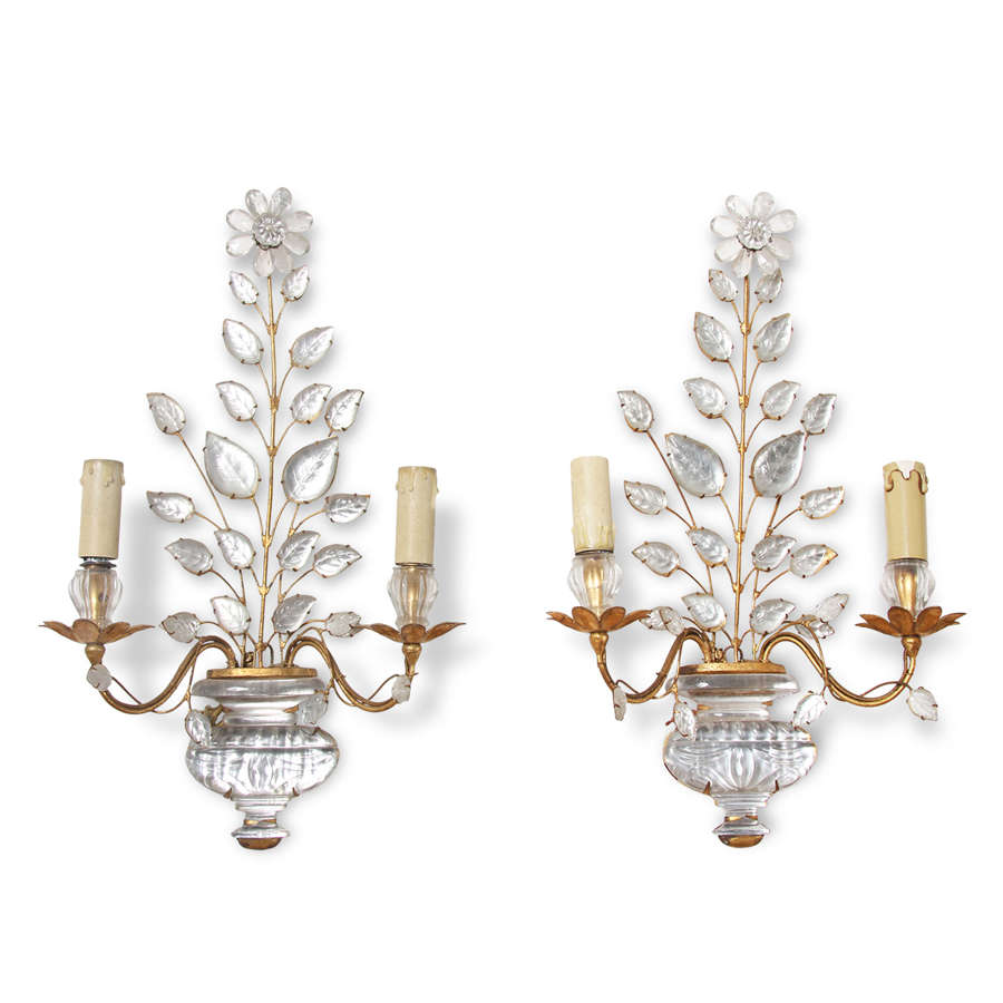 Pair of French Mid-Century Baguès Wall Sconces With Floral Motifs