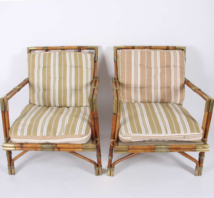 Mid 20th Century French Bamboo and Brass Armchairs