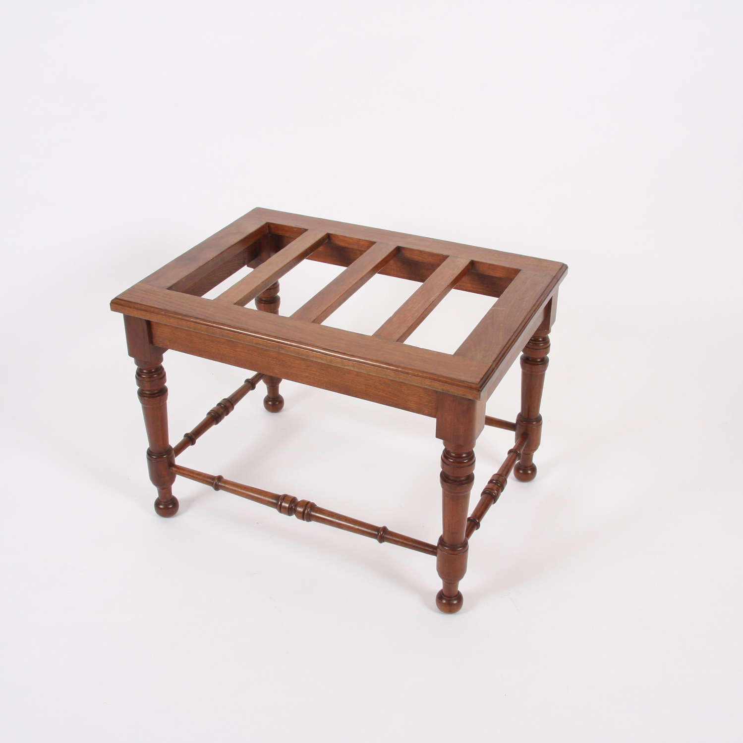 Early 20th Century Luggage Rack With Turned Mahogany Stretchers