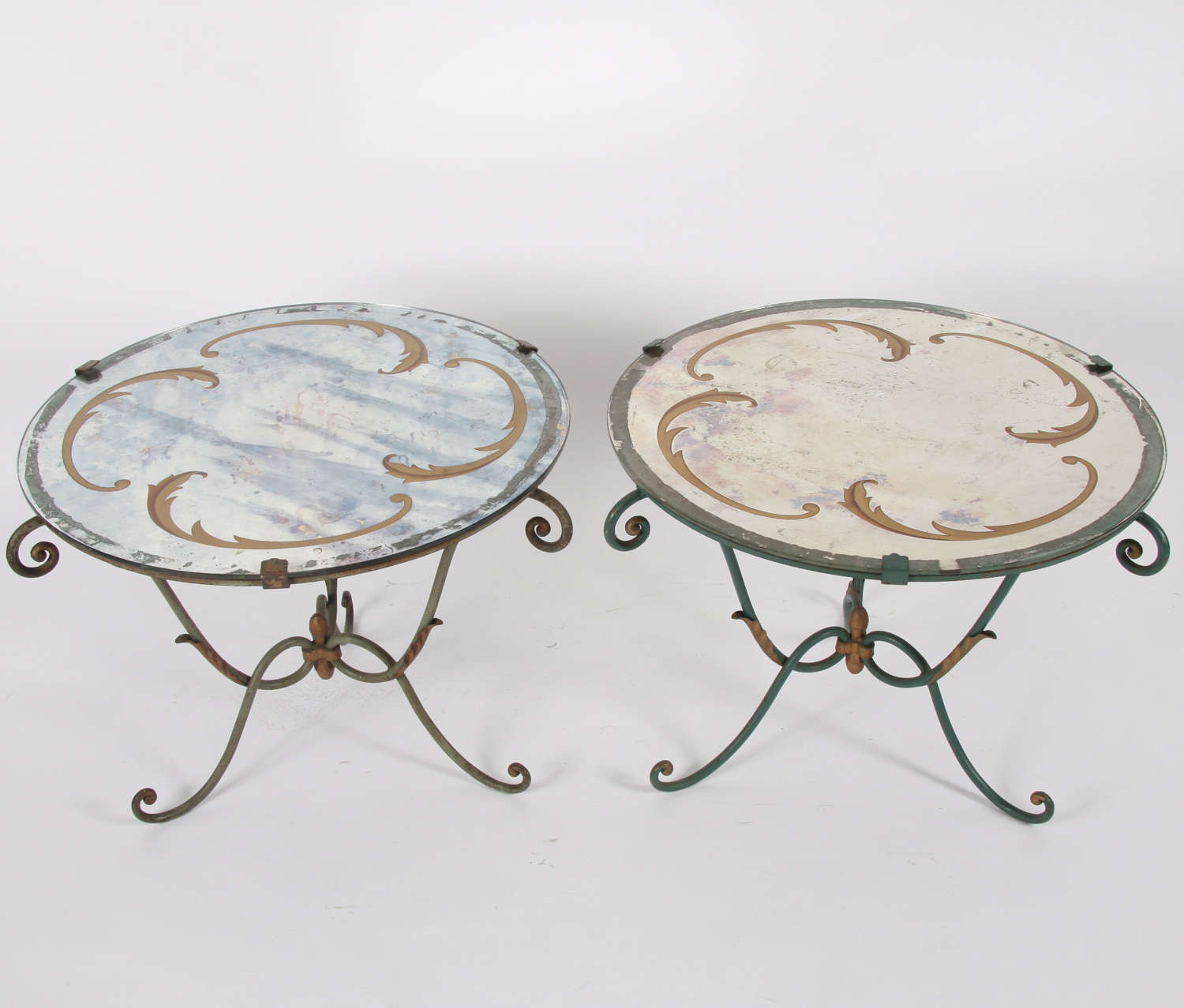 Italian Mid-Century Verre Églomisé and Wrought Iron Side Tables