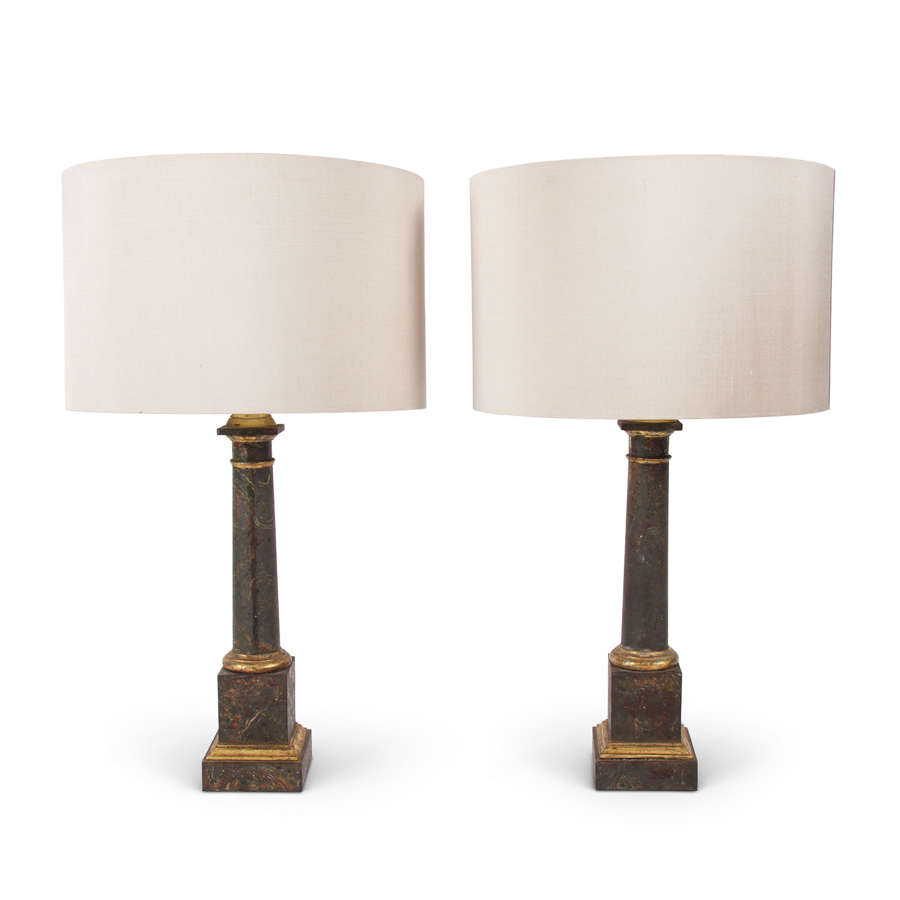 Pair of French Mid-Century Faux Marble Table Lamps