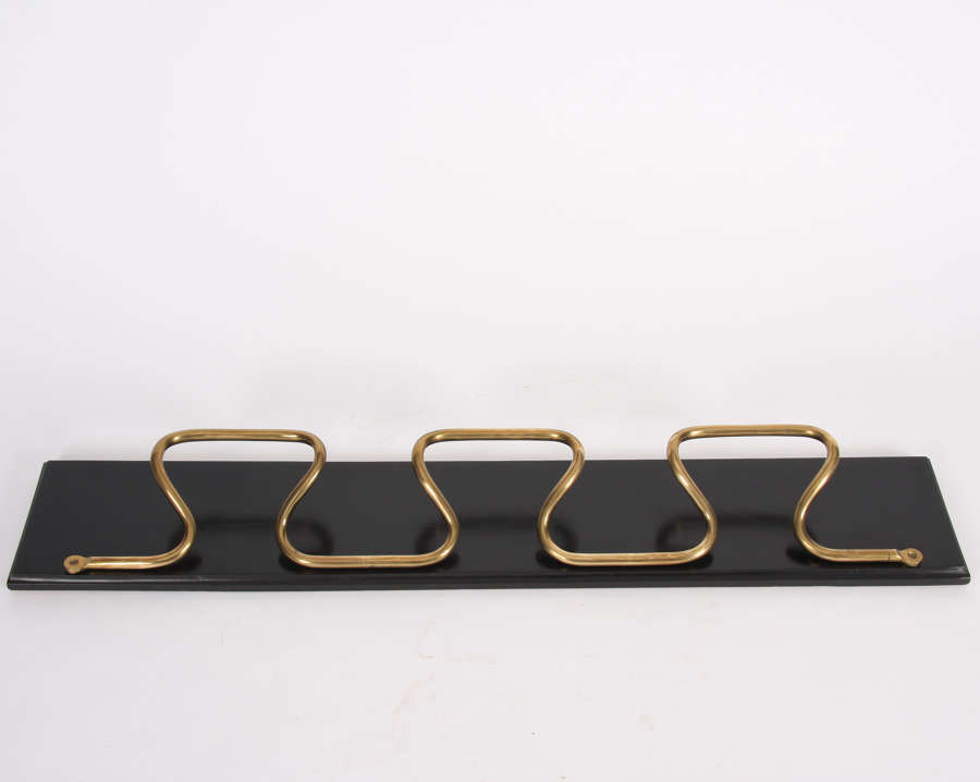 French 1950s Brass & Ebonised Wood Coat Rack