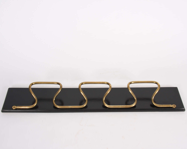 French 1950s Brass & Ebonised Wood Coat Rack