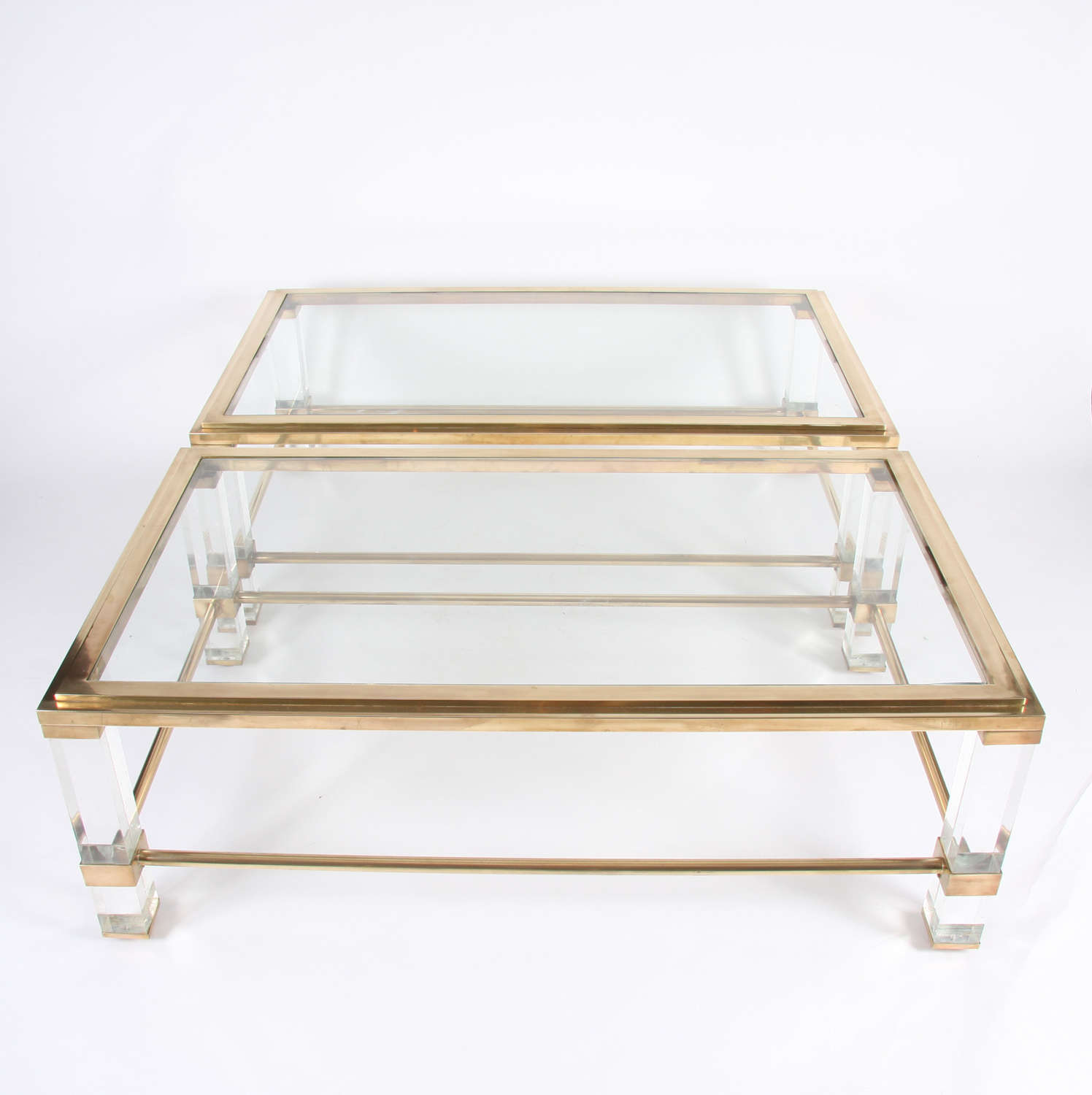 Pair of French 1960s Brass and Lucite Tables