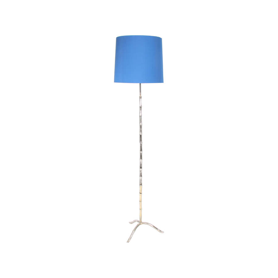 Silvered Plated Faux Bamboo Floor Lamp