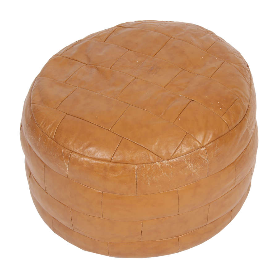 French Leather Pouffe