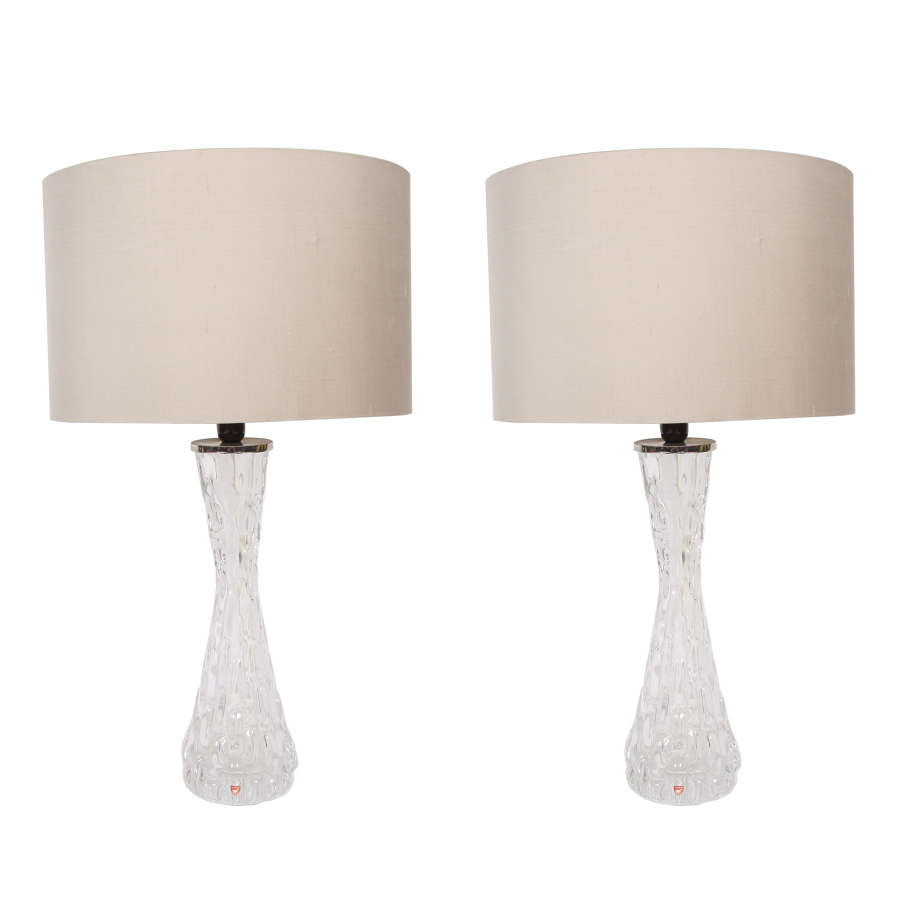 Pair of Swedish Clear Orrefors Lamps