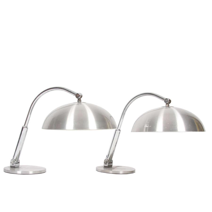 Pair of Brushed Steel Desk Lamps
